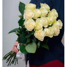 Букет из 15 (70 см) Элитных белых роз (Эквадор)