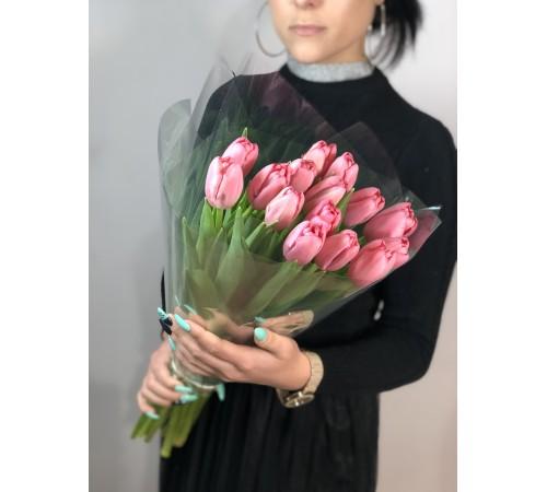 Элитные розовые тюльпаны 15 шт