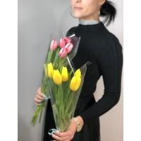Тюльпаны в прозрачной упаковке 5 шт