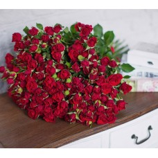 35 кустовых красных роз